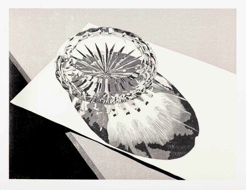 Philipp Hennevogl, Aschenbecher auf Papier, Linolschnitt
