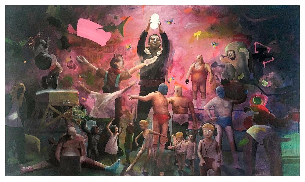 HYBRO$ Felix Pensel Vor der Veränderung 2016 151 cm x 250 cm Mischtechnik auf Leinwand