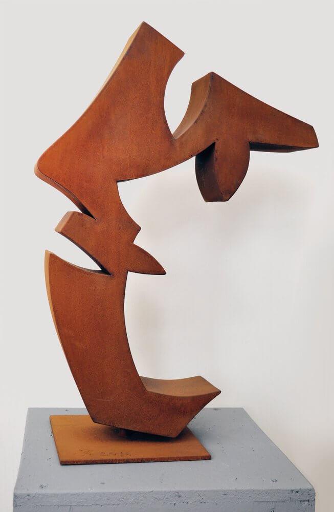 Häfner+Häfner: Guido Häfner, Januskopf 2016, 58 cm. Cortenstahl