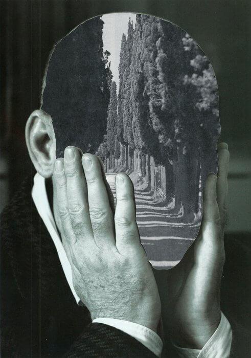 Holger Becker: Portrait #8 (Gedankenspaziergang) 2015, Collage