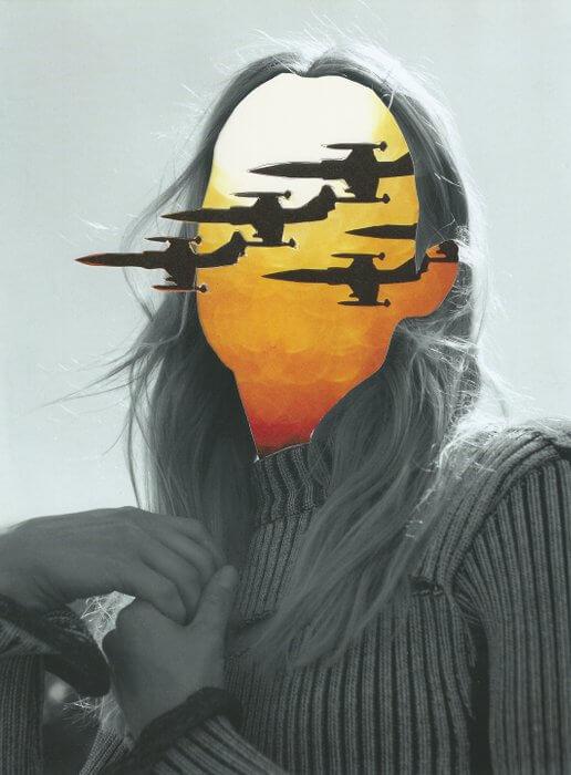 Holger Becker: Flug Zeug Kopf (air plane head) #2 2015, Collage