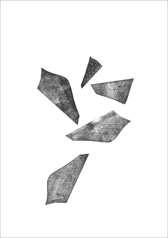 Bruchstückhaft / Linoldruckfarbe auf Papier (Unikat) / 420 x 594 mm / 2016