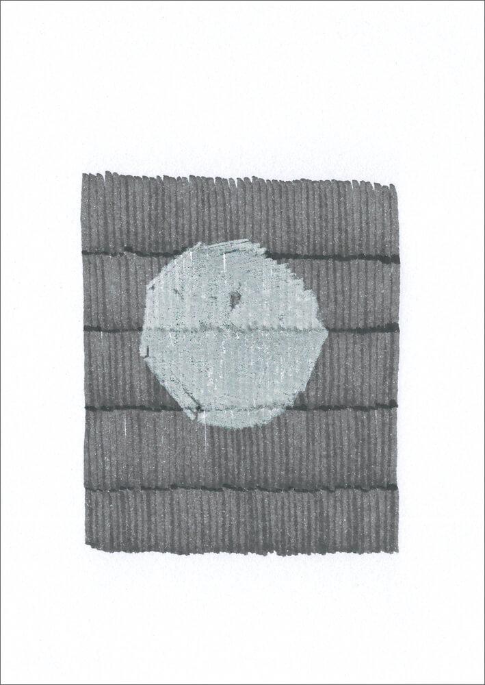 Weißer Fleck / Buntstift, wasserbasierte Farbstofftinte auf Papier / 105 x 148 mm / 2016