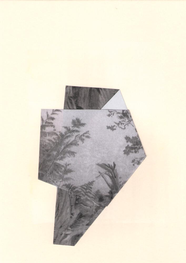 Tropenfalter / Linoldruckfarbe, Papierfaltung auf Papier / 148 x 210 mm / 2015