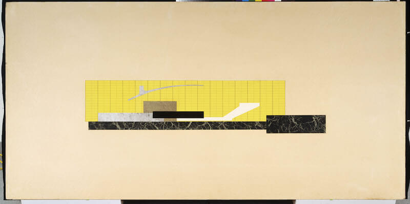 "Ludwig Mies van der Rohe, Theatre Project, 1947. Combined elevation and section. New York, New York, Museum of Modern Art (MoMA). Cut-out colored papers (silver, gold, marbleized, and black) on illustration board, 48 x 96"" (121,9 x 243,8 cm). Mies van der Rohe Archive, gift of the architect. Acc. n.: 717.1963. © 2017. The Museum of Modern Art, New York / Scala, Florence / VG Bild-Kunst, Bonn, 2017"