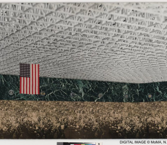 "Ludwig Mies van der Rohe, Convention Hall. Chicago, Illinois, 1952-54. Interior perspective. Preliminary version, 1953. New York, Museum of Modern Art (MoMA). Marbleized paper cut-out photographs (of roof-truss model and 1952 Republican Party Convention) on composition board, 33 x 48"" (83,9 x 122 cm). Mies van der Rohe Archive, gift of the architect. Acc. n.: 572.1963 © 2017. The Museum of Modern Art, New York / Scala, Florence / VG Bild-Kunst, Bonn, 2017"