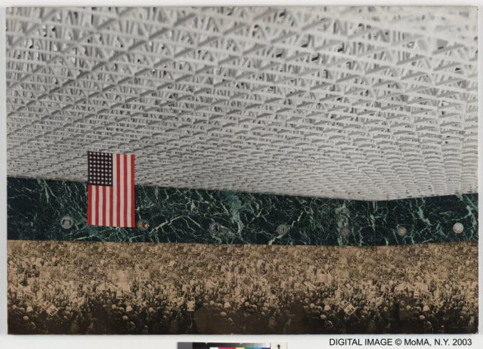 """Ludwig Mies van der Rohe, Convention Hall. Chicago, Illinois, 1952-54. Interior perspective. Preliminary version, 1953. New York, Museum of Modern Art (MoMA). Marbleized paper cut-out photographs (of roof-truss model and 1952 Republican Party Convention) on composition board, 33 x 48"""" (83,9 x 122 cm). Mies van der Rohe Archive, gift of the architect. Acc. n.: 572.1963 © 2017. The Museum of Modern Art, New York / Scala, Florence / VG Bild-Kunst, Bonn, 2017"""