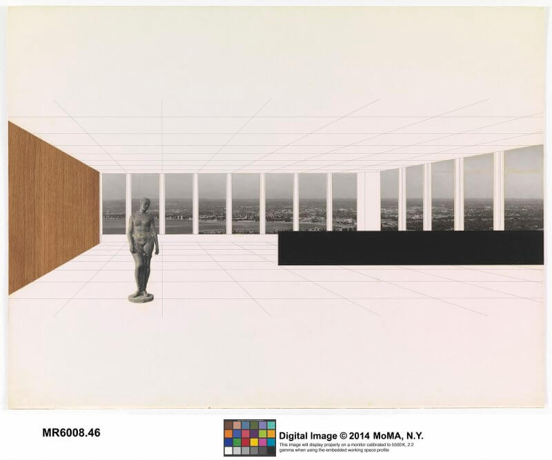 "Ludwig Mies van der Rohe, Georg Schaefer Museum Project, Schweinfurt, Germany, Interior perspective with view of site, 1960- 1963. New York, Museum of Modern Art (MoMA). Ink and photo collage on illustration board, 30 x 40"" (76.2 x 101,6 cm). Mies van der Rohe Archive, gift of the architect. Acc. N.: MR6008.48. © The Museum of Modern Art, New York/Scala, Florence/ VG Bild-Kunst, Bonn, 2017"