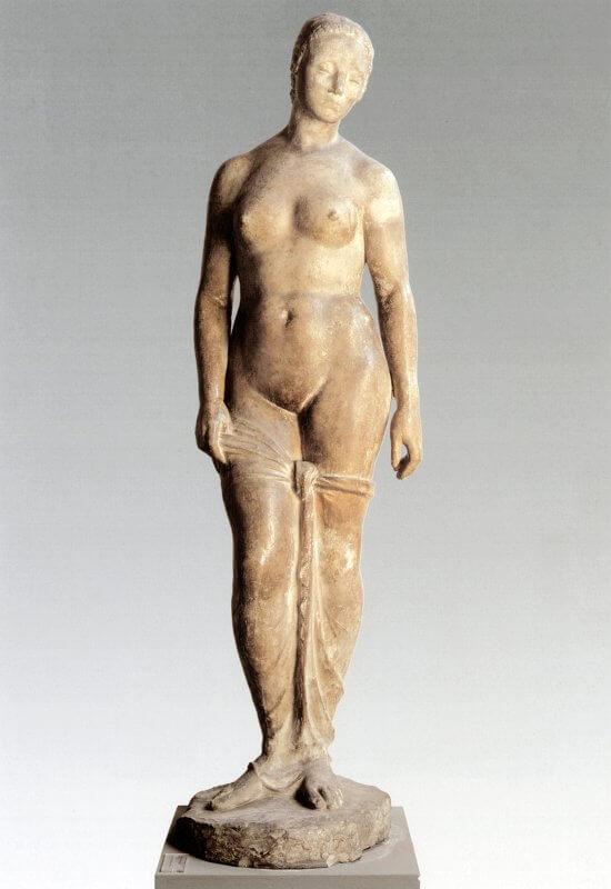 """Wilhelm Lehmbruck, Stehende Figur (""""Große Stehende""""), 1910, Hartgipsguss, 194 cm Höhe, Stiftung Wilhelm Lehmbruck Museum – Zentrum Internationaler Skulptur"""