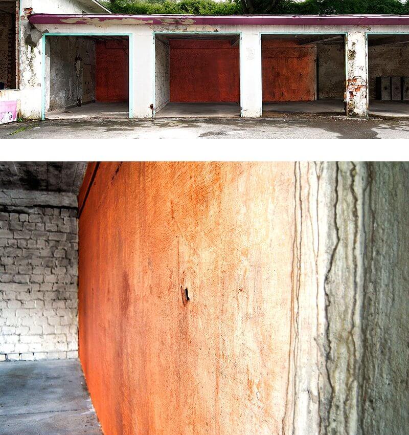 Andreas von Ow: Backsteinwand (Bob's Service, Wuppertal) 2013, Backsteine der Tankstelle in Wuppertal und Acrylbinder, auf Gebäuderückwand, ca. 2,50 x 11,00 m