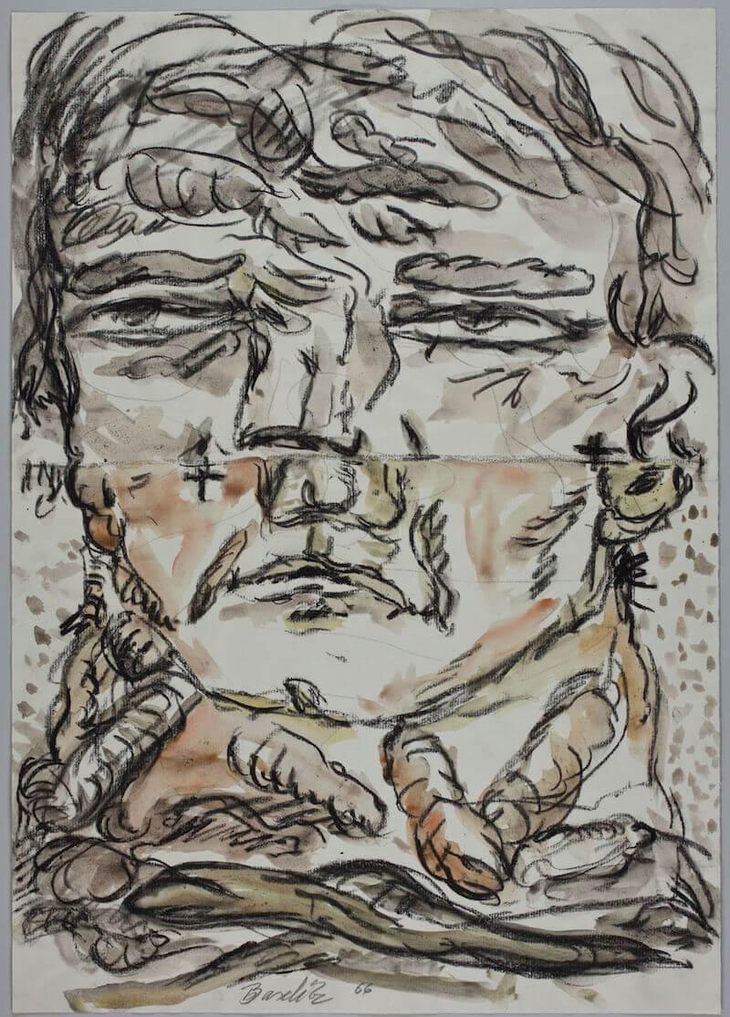Georg Baselitz: Großer Kopf, 1966 Kohle, Aquarell und Bleistift auf Papier 50 x 35,5 cm Germanisches Nationalmuseum, Graphische Sammlung © Georg Baselitz 2017