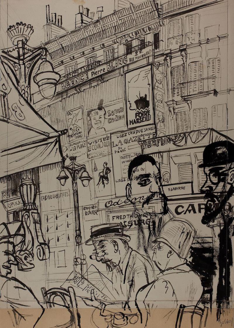Karl Hubbuch: Auf dem Boulevard Bonne Nouvelle, 1930 Schwarze Tusche über Bleistift auf Karton, unten und rechts mit braunem Karton ergänzt 54,4 x 38,7 cm Germanisches Nationalmuseum, Graphische Sammlung
