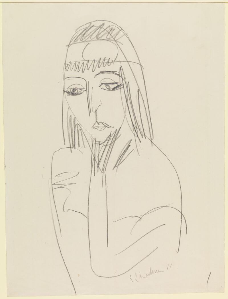 Ernst Ludwig Kircher: Kopf Erna mit Stirnreif, um 1912 Bleistift auf Papier 53,8 x 37,9 cm Germanisches Nationalmuseum, Graphische Sammlung
