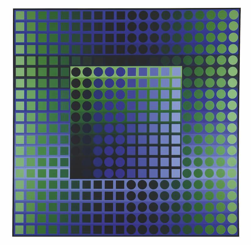 Victor Vasarely, Zoeld KZ, 1967-73, Acryl auf Leinwand, 200 x 200 cm, Foto und Standort Sammlung Siegfried und Jutta Weishaupt © VG Bild-Kunst, Bonn 2017.jpg