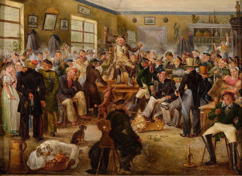 Johann Baptist Pflug: Das Bäuerlein auf dem Studentenkommers, um 1829, Öl auf Holz, 20 x 28 cm, Museum Biberach