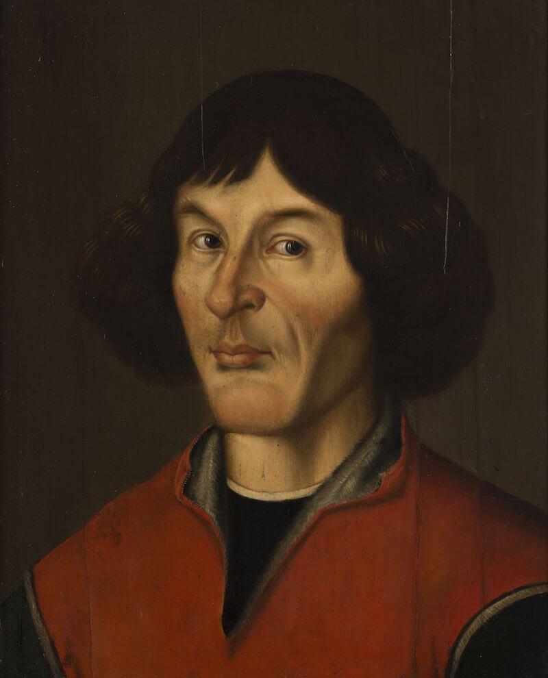"Leonard Torwirt: Nicolaus Copernicus, um 1946/52 Kopie nach dem Thorner ""Gymnasial-Porträt"" aus dem 16. Jahrhundert Malerei auf Holz 62,5 cm hoch x 53 cm breit Muzeum Okręgowe w Toruniu, Toruń"