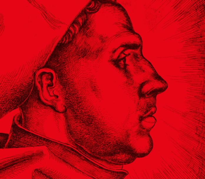 Plakatmotiv, basierend auf: Daniel Hopfer: Profilbildnis Martin Luthers, 1523 Eisenradierung 22,8 cm hoch x 15,4 cm breit Germanisches Nationalmuseum, Nürnberg