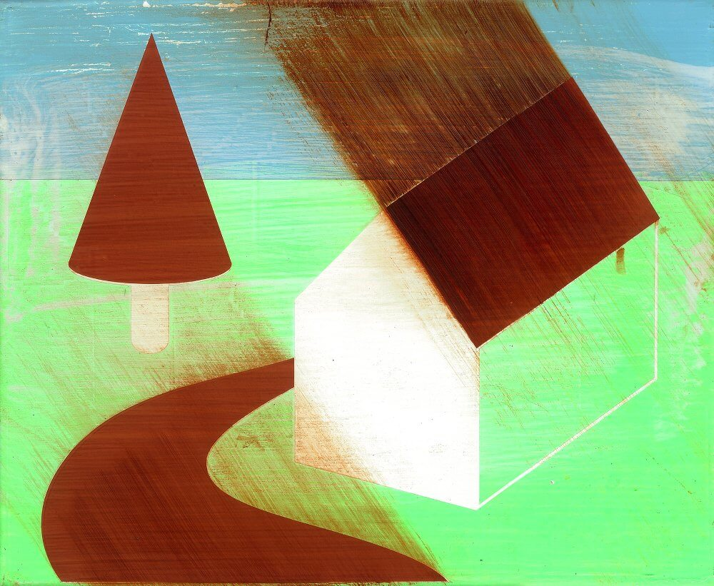 Ludwig Hansich, Town, 2017, Acryl und Öl auf Baumwolle, 30x37cm
