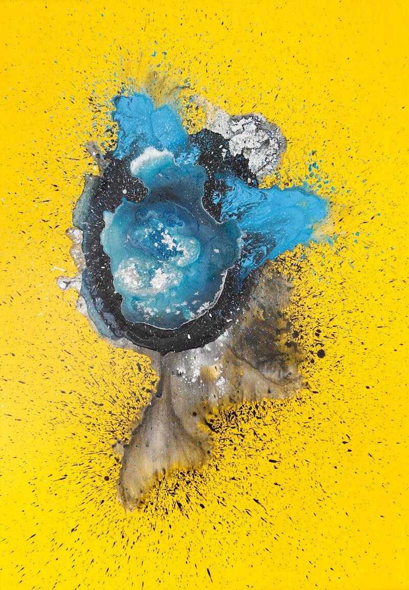 Victoria Hertel: Ion 2017 • Acryl, Tinte, Harz auf Leinwand • 116 x 81 cm