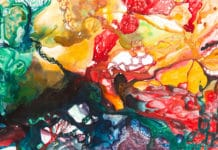 Victoria Hertel: In Vivo 2014 • Acryl, Tinte, Harz auf Leinwand • 114 x 195 cm