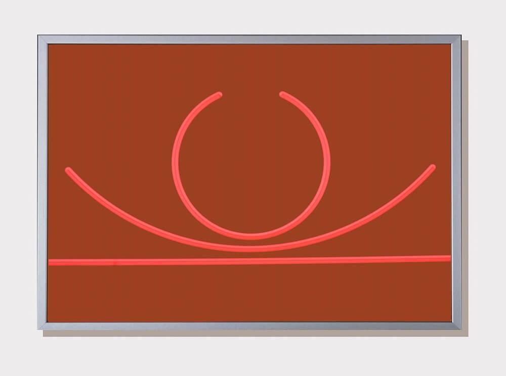 3 gleiche Längen, 2017. lavaoranges fluoreszierendes Acrylglas, 21x29,7x0,3cm, © Hellmut Bruch