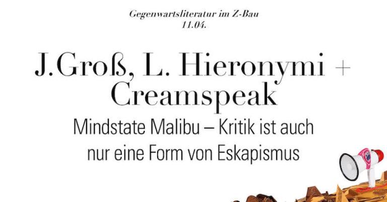 Lesung von Joshua Groß, Leonhard Hieronymi & Creamspeak im Z-Bau