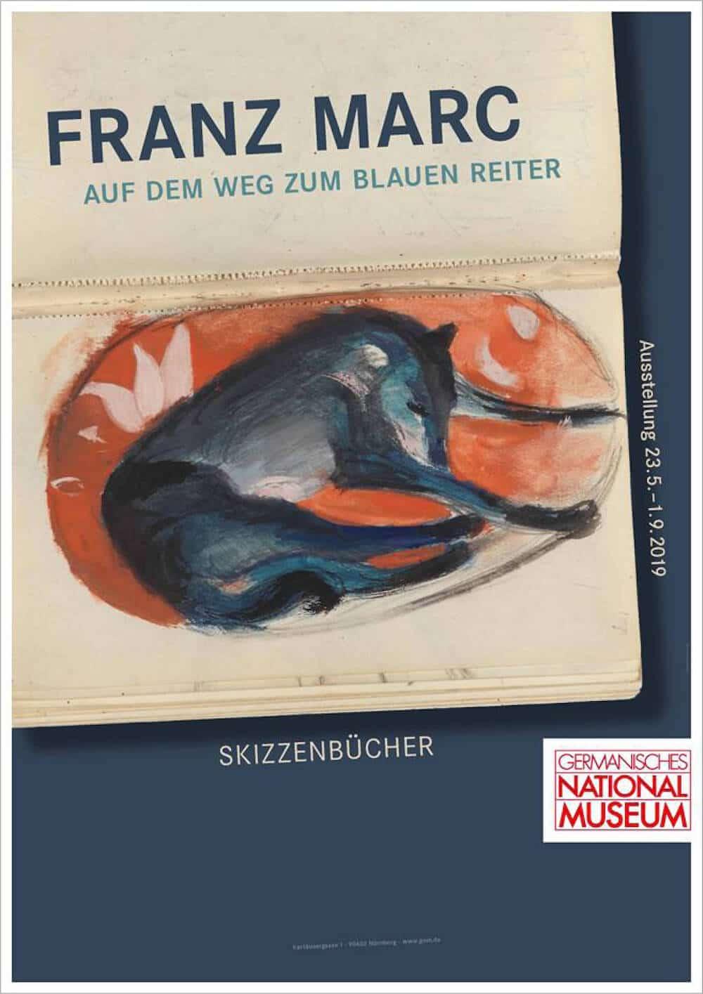 """Ausstellung """"Franz Marc auf dem Weg zum Blauen Reiter. Skizzenbücher"""", © GNM"""