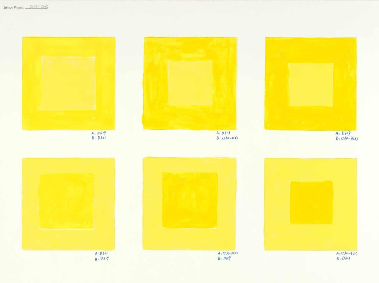 He Xiangyu Research on Yellow (2015-2016) pencil, acrylic on paper 31 x 41cm