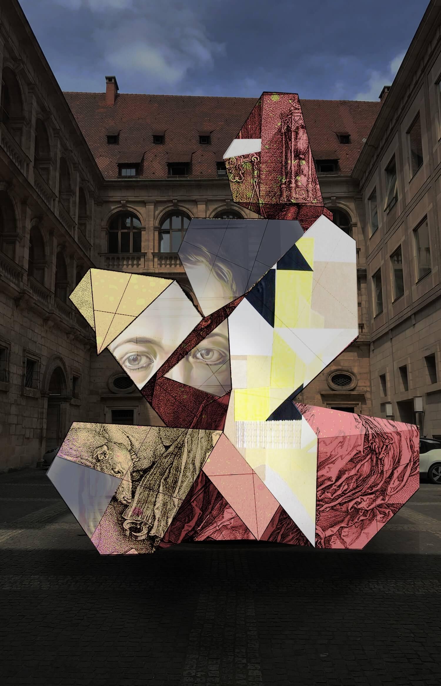 Im Innenhof: Kunstprojekt Kupferstich vs. Urban Art von Julian Vogel und Benedikt Buchmüller (Grafik: Julian Vogel)