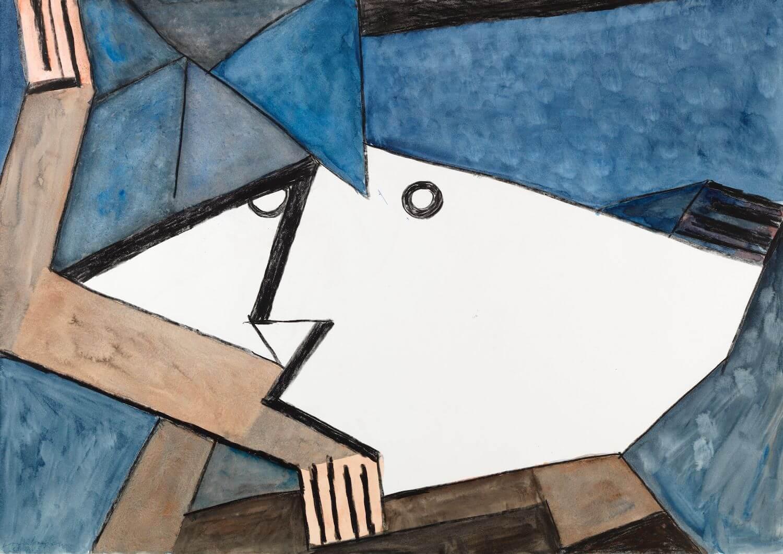Franz Vornberger, Querkopf, 2005, Acryl auf Malerkarton © Kunstvilla, Foto: Annette Kradisch