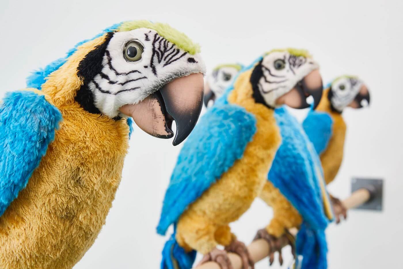 """""""Dirty Parrots"""", Detail, 2018, Refugium für aussortierte Roboterpapageien, dreiteilig, jeweils 324 x 20 x 50 cm, Gesamtgröße variabel, diverse Materialien, Foto: Volker Renner, Courtesy der Künstler, Galerie Noah Klink und Jürgen Becker Galerie"""