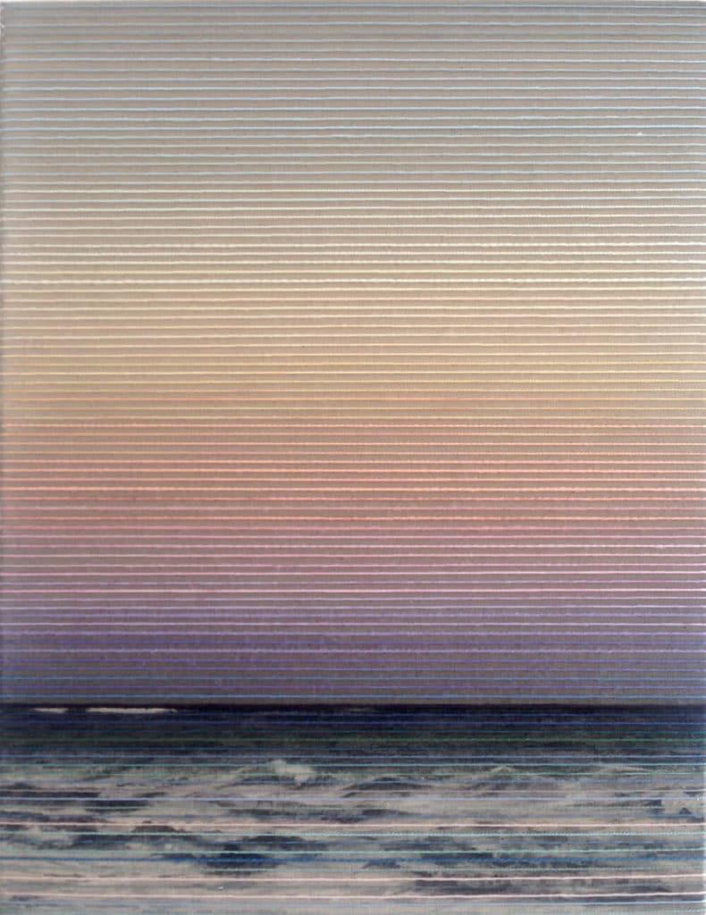 Glowing, Tusche/Garn auf Leinwand, 52 x 40 cm, 2018, © Linda Männel