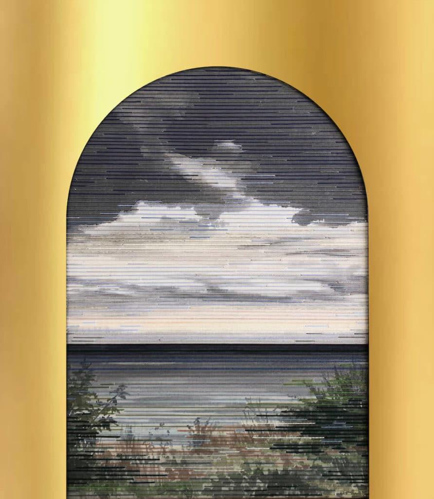 Jaula d'oro IV, Tusche/Garn auf Leinwand, Acrylspiegelglas,70 x 60 cm, 2019, © Linda Männel