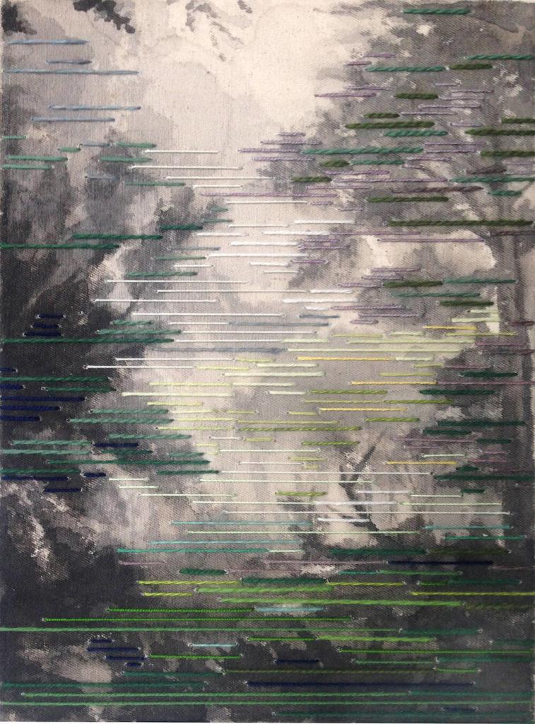 Tramuntana, 27 x 20 cm, Tusche/Garn auf Leinwand, 2018, © Linda Männel