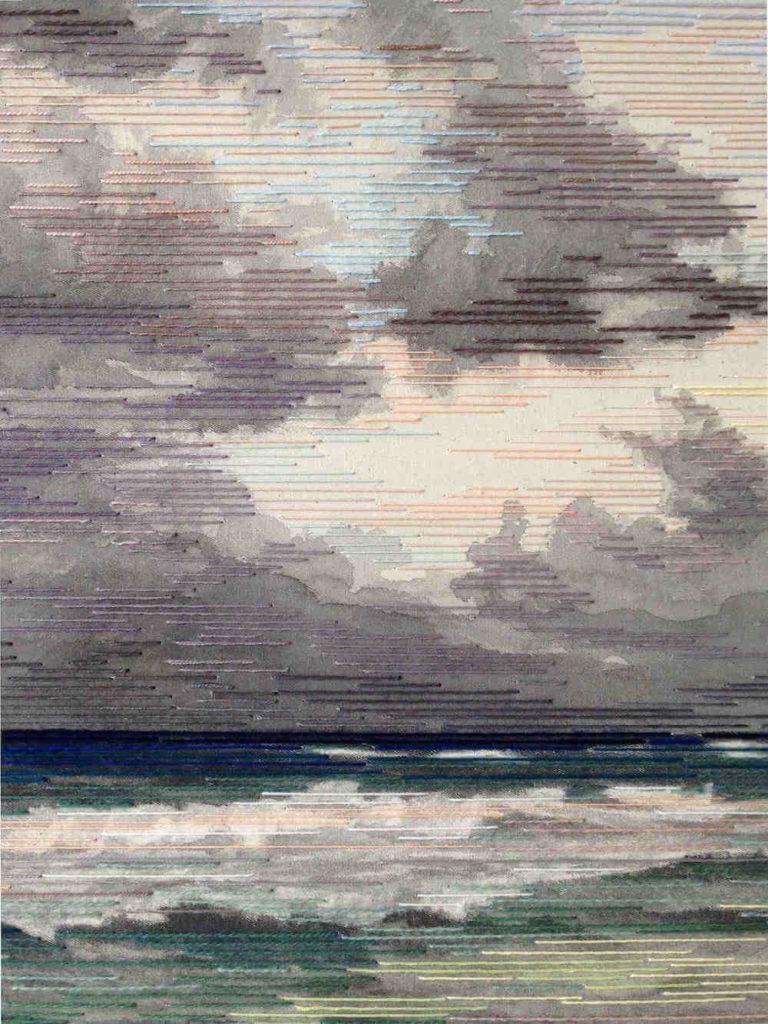 Detail aus Beyond the Tulum Skies, Tusche/Garn auf Leinwand, 120 x 120 cm, 2017, © Linda Männel