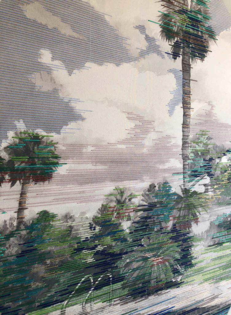 Detail aus Fortune, Tusche/Garn auf Leinwand, 16 x 125 cm, 2018, © Linda Männel