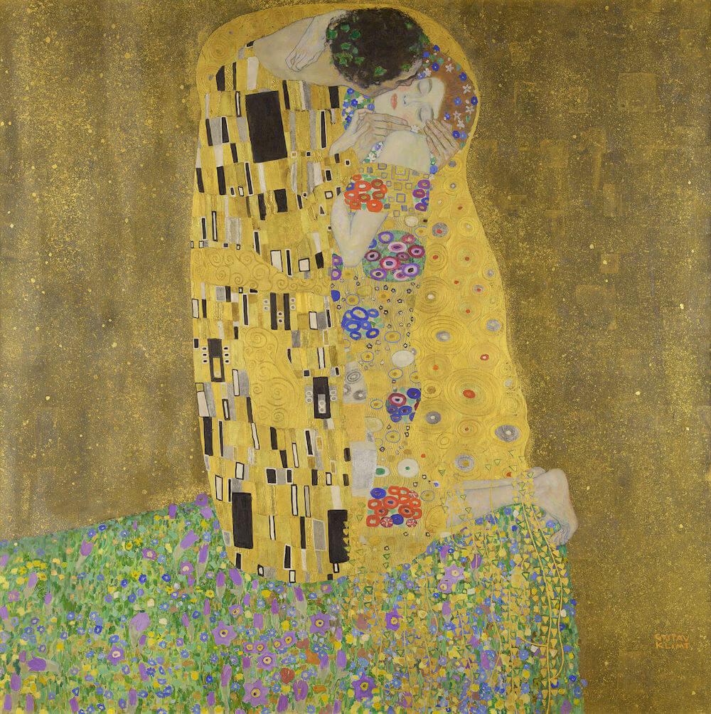 Der Kuss – Liebespaar Gustav Klimt, 1908/09 Öl auf Leinwand 180× 180cm Österreichische Galerie Belvedere, Foto: Wikipedia