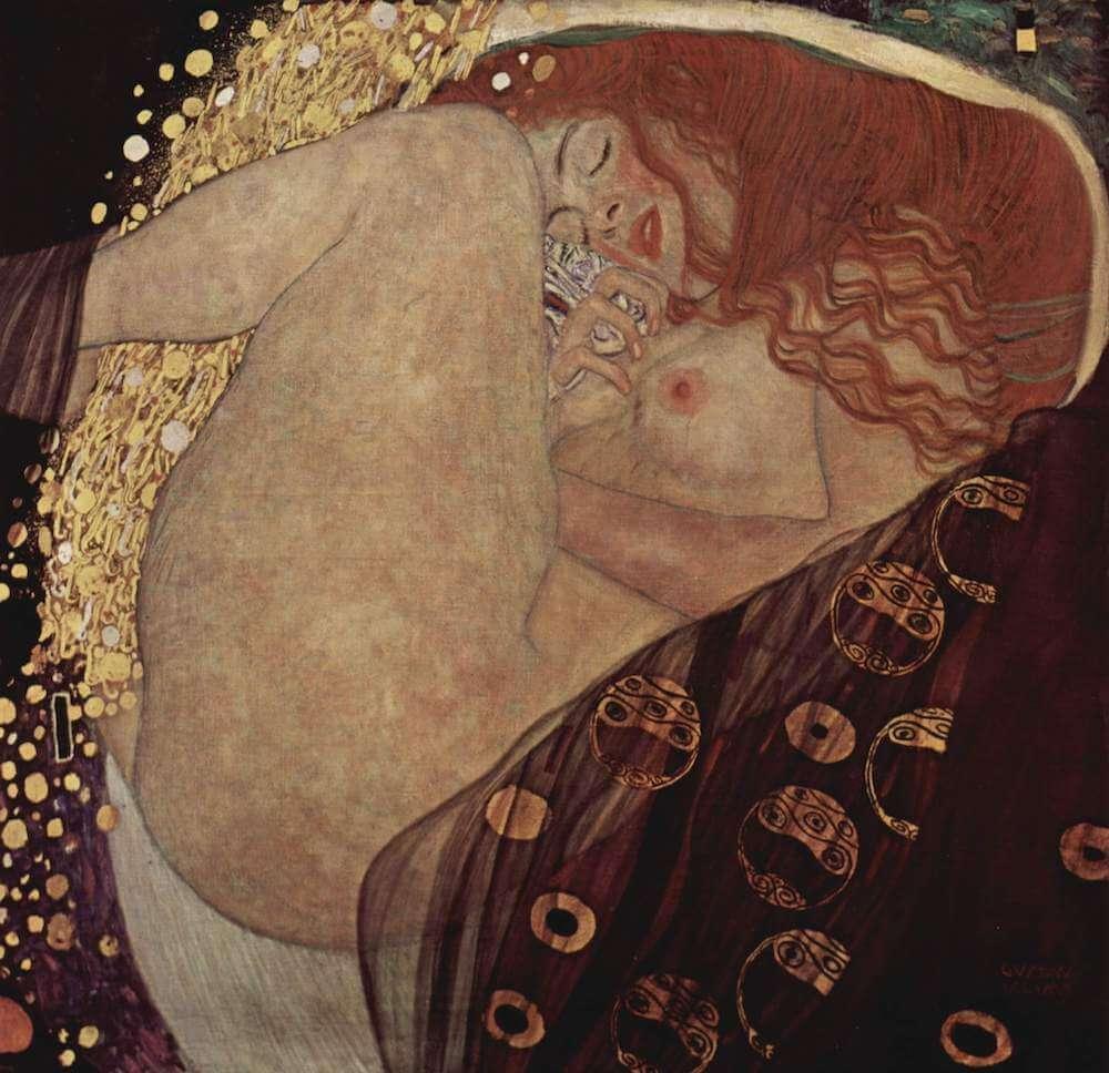Gustav Klimt: Danae, 1907, 77 × 83 cm, Öl auf Leinwand, Privatbesitz Wien, Foto: Wikipedia