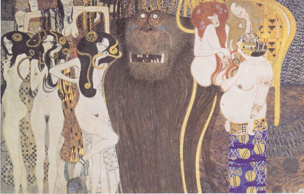 Gustav Klimt: Beethovenfries, Die feindlichen Gewalten, 1901