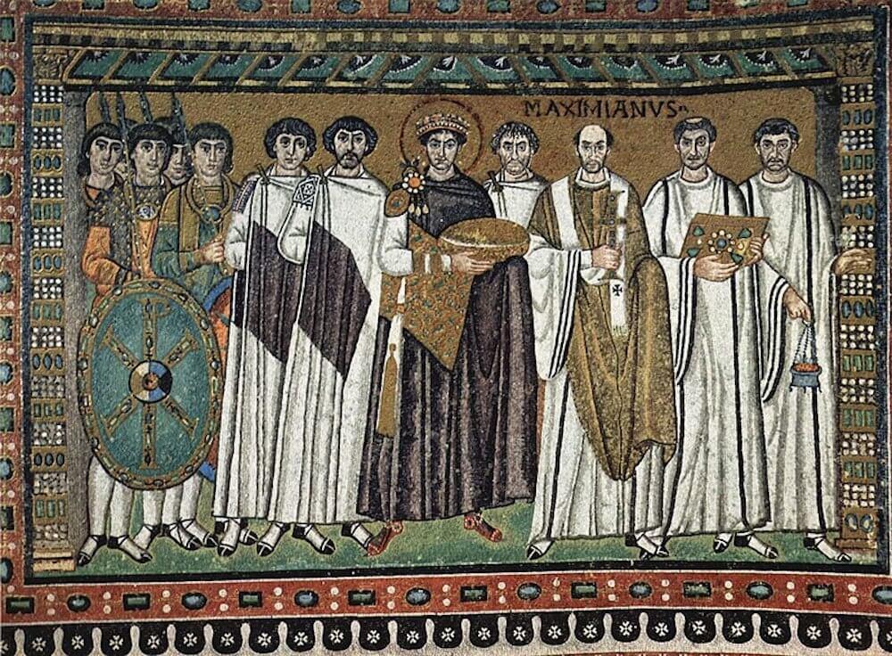 Mosaikfeld mit Kaiser Justinian, San Vitale, Ravenna