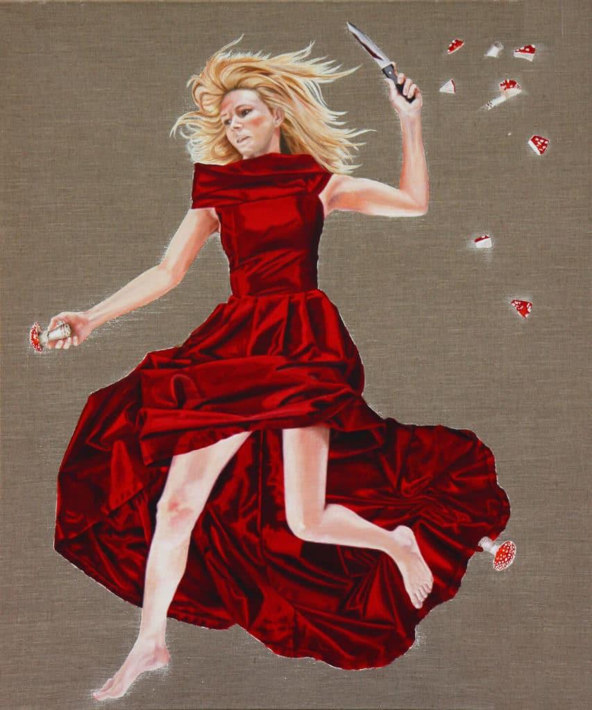 Petra Krischke: Blondes Gift, Satin / Öl auf Leinen, 120x100cm, 2010