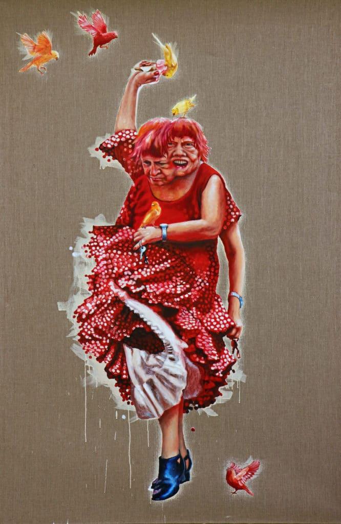 Petra Krischke: Spaltpilz Öl auf Leinen, 200x130cm, 2010