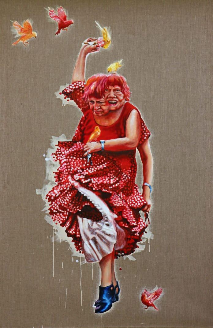 Petra Krischke: Spaltpilz, Öl auf Leinen, 200x130cm, 2010