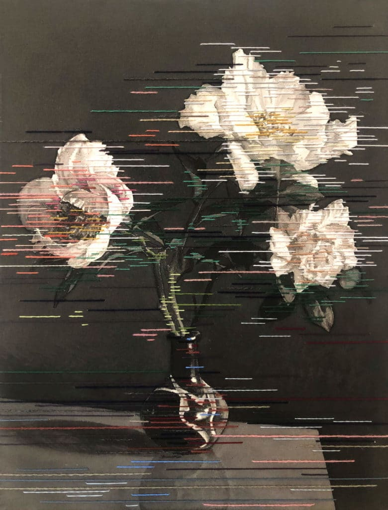 Linda Männel o. T., 2020 Tusche und Garn auf Leinwand, 52 x 40 cm