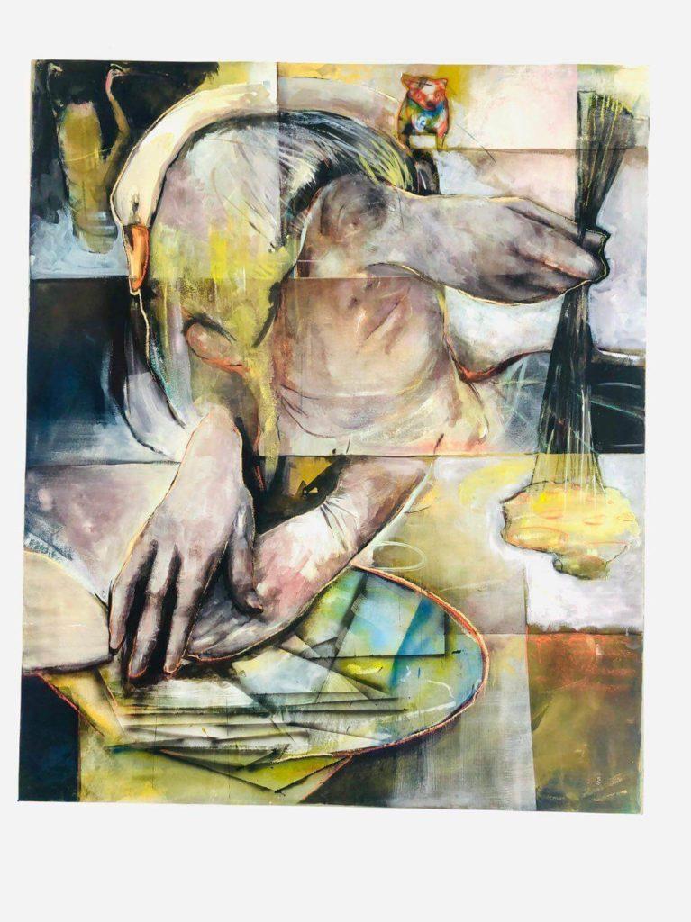 Lisa Wölfel: Zwischenzeit, 2020, Mischtechnik auf Leinwand, 150x125 cm
