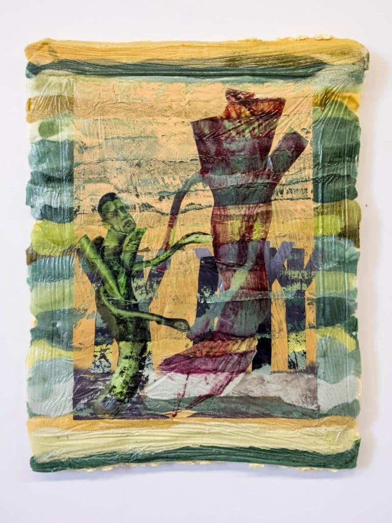Michael Eppler, Lauchbild, 2019, Schaumfarbe, 125x100x7 cm