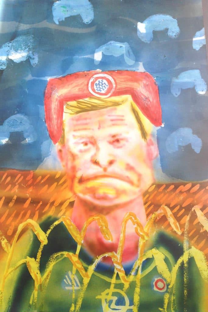 Michael Eppler, Oliver Kahn im Roggenfeld II, 2020, 30x20 cm, Tusche auf Papier
