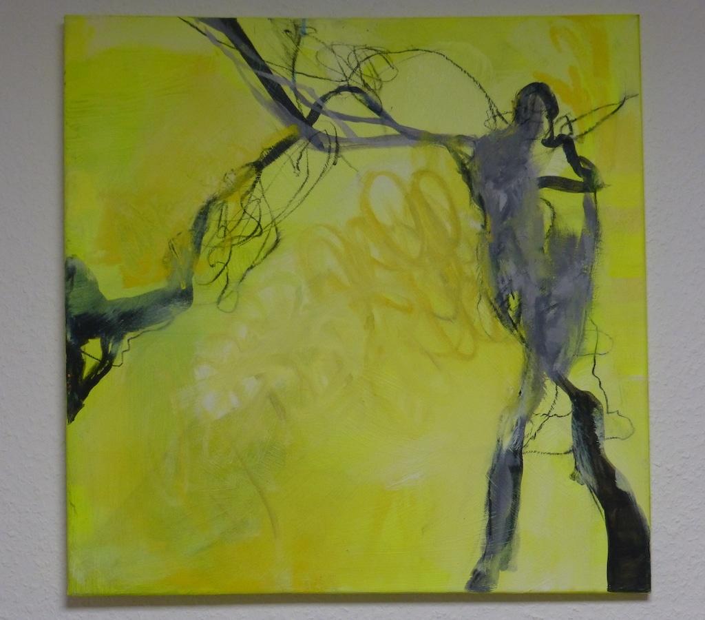 Diethard Riedel: Tachistische Abstraktion Nr. 1, 2020, Sprays und Abklatschtechnik auf Graupappe, 70 x 50 cm