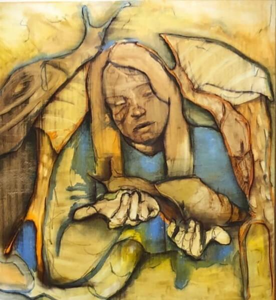 Lisa Wölfel, Schneckenkarussel, 2019, Öl auf Leinwand, 160x150 cm