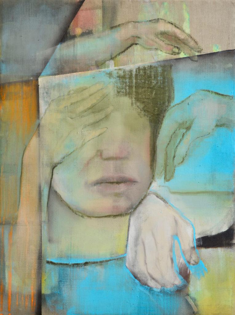 Lisa Wölfel, Betüddeln, 180x140 cm, Öl auf Leinwand, 2018